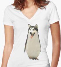 Husky Penguin Women's Fitted V-Neck T-Shirt