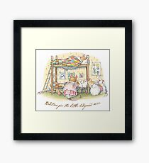 Lady Woodmouse gets the little mice into bed Framed Print