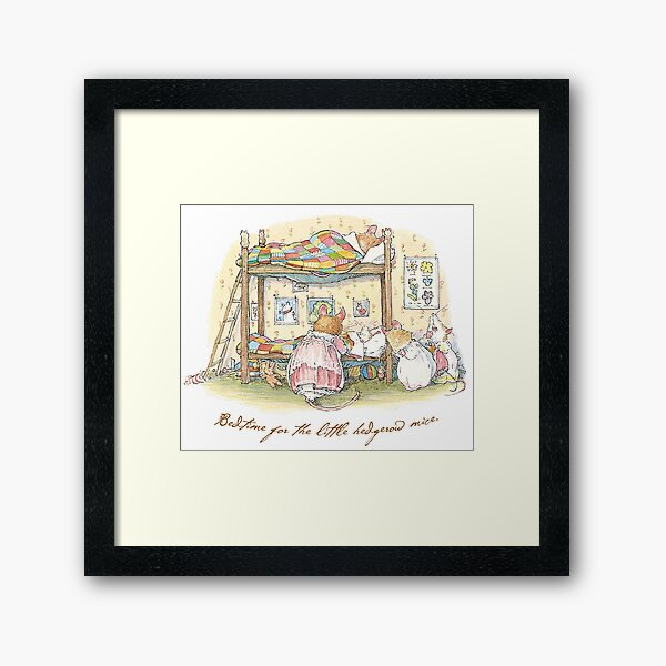 Lady Woodmouse gets the little mice into bed Framed Art Print