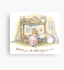 Lady Woodmouse gets the little mice into bed Metal Print