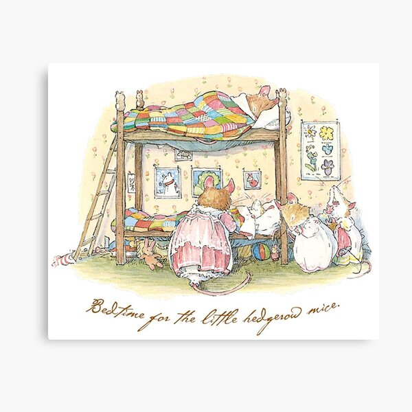 Lady Woodmouse gets the little mice into bed Canvas Print