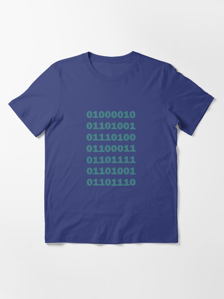 Alternate view of Binary Bitcoin Essential T-Shirt