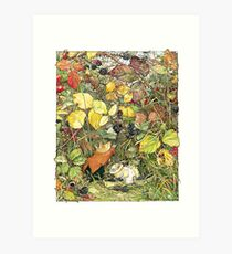 Blackberry picking Art Print
