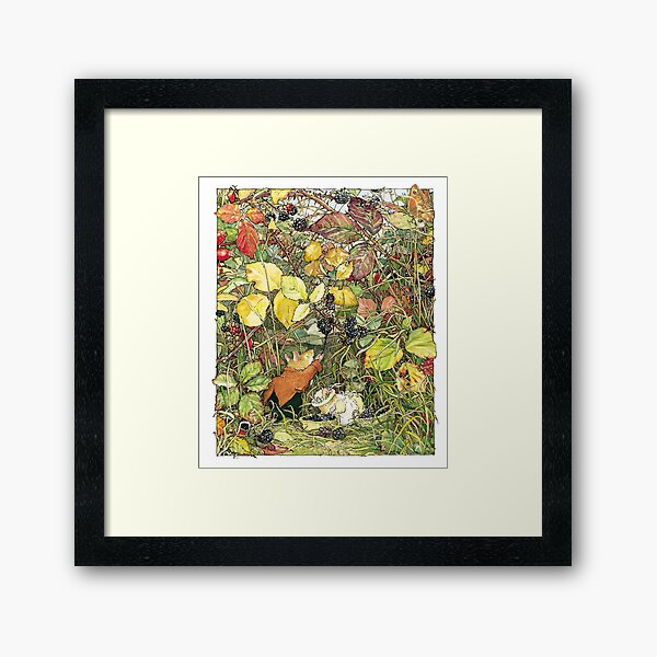 Blackberry picking Framed Art Print