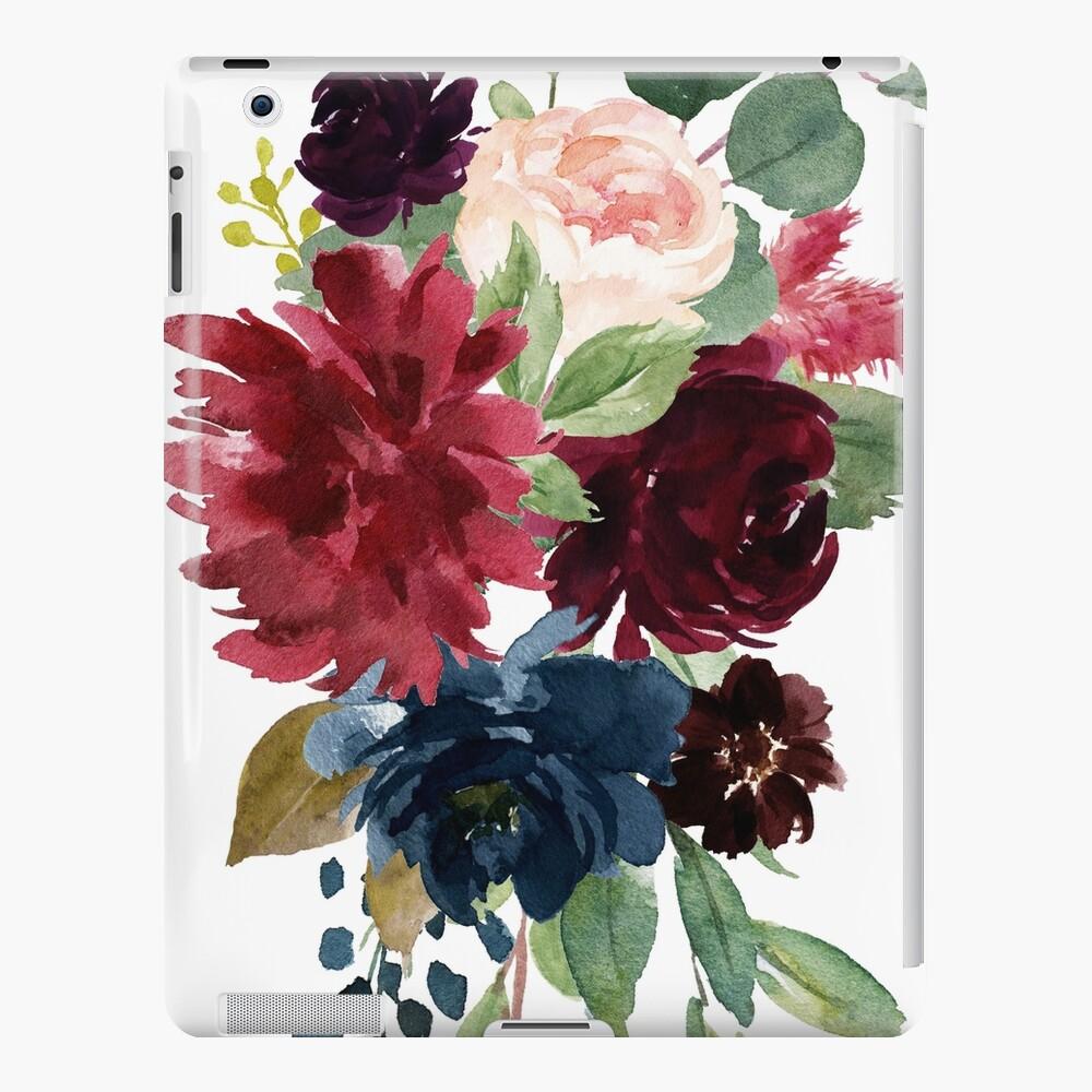 Burgunder-Aquarell mit Blumen iPad-Hülle & Skin