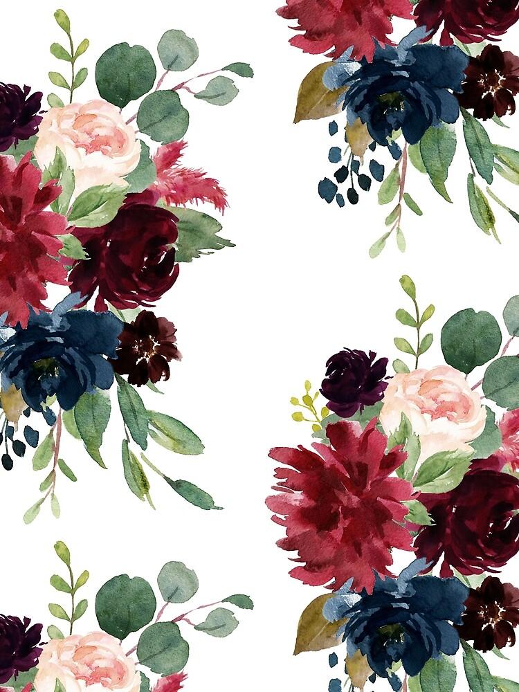 Burgundy watercolor floral by junkydotcom