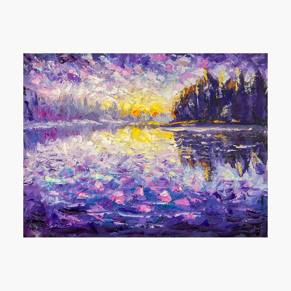PURPLE SUNSET LAKE LANDSCAPE CANVAS PICTURE PRINT WALL ART 5977