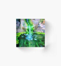 Stone fountain and moss Acrylic Block