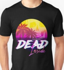 Dead Inside - Vaporwave Miami Aesthetic Spooky Mood Slim Fit T-Shirt