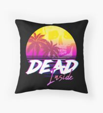 Dead Inside - Vaporwave Miami Aesthetic Spooky Mood Throw Pillow