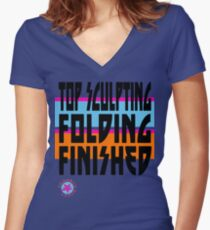 TOP SCULPTING - FOLDING - FINISHED Women's Fitted V-Neck T-Shirt