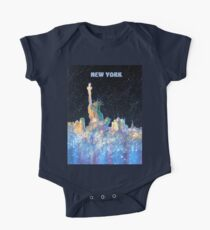 New York - Liberty and Skyline  One Piece - Short Sleeve