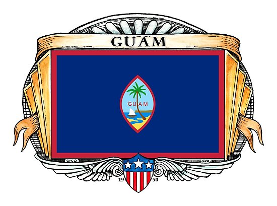 Guam Art Deco Design with Flag