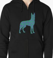 Colored Wolf  Zipped Hoodie