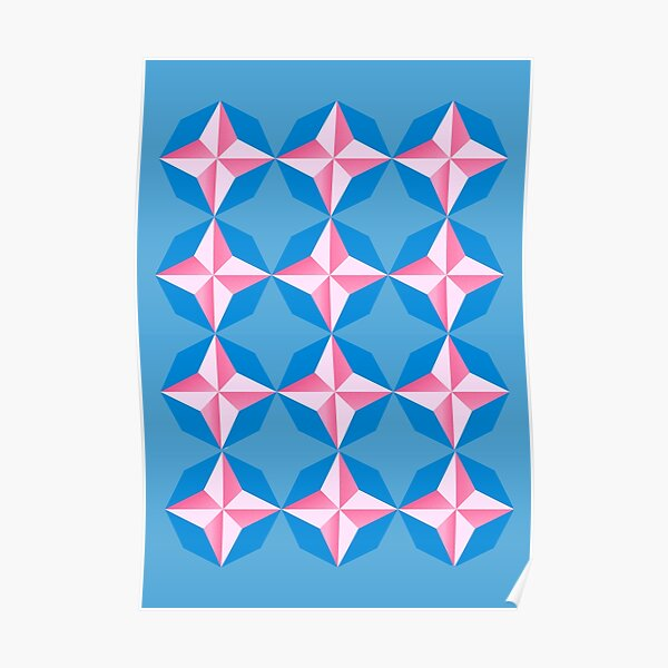 geometric star seamless pattern - blue and pink Poster