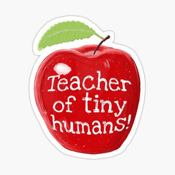 Teacher Of Tiny Humans Shiny Apple Sticker