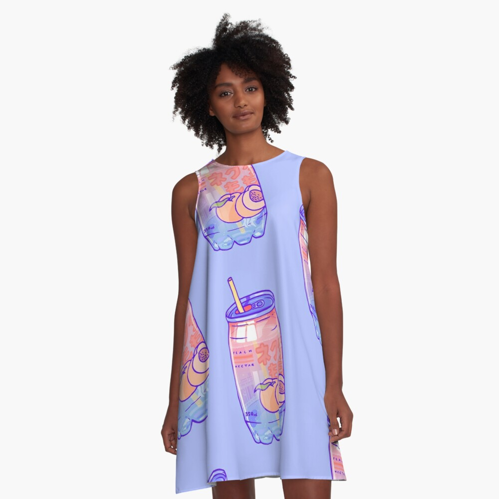 Peach Bubbles A-Line Dress