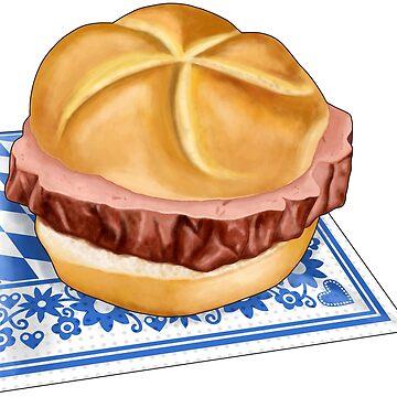 Bavarian meat loaf bread roll on napkin by ARTemyzz