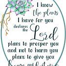 Ich kenne die Pläne, die ich für Sie habe | Bibelvers Kunst von PraiseQuotes