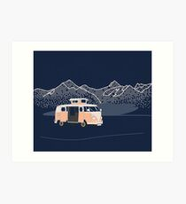 Campervan With Lake And Mountains Art Print