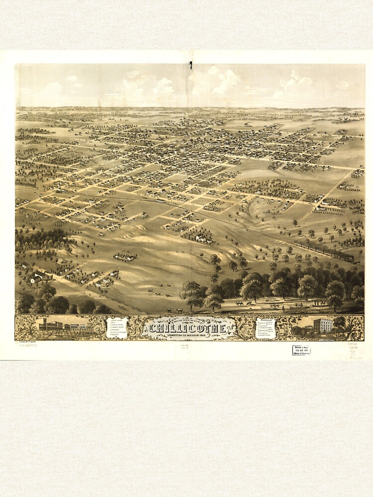 Bird's Eye View of Chillicothe, Missouri (1869) by allhistory