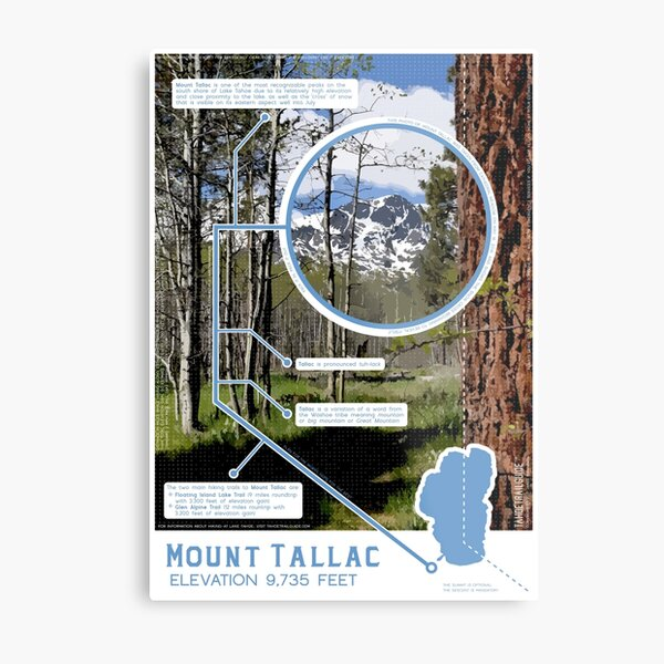 Mount Tallac Infographic Metal Print