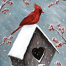 Northern Cardinal Bird Painting by ironydesigns