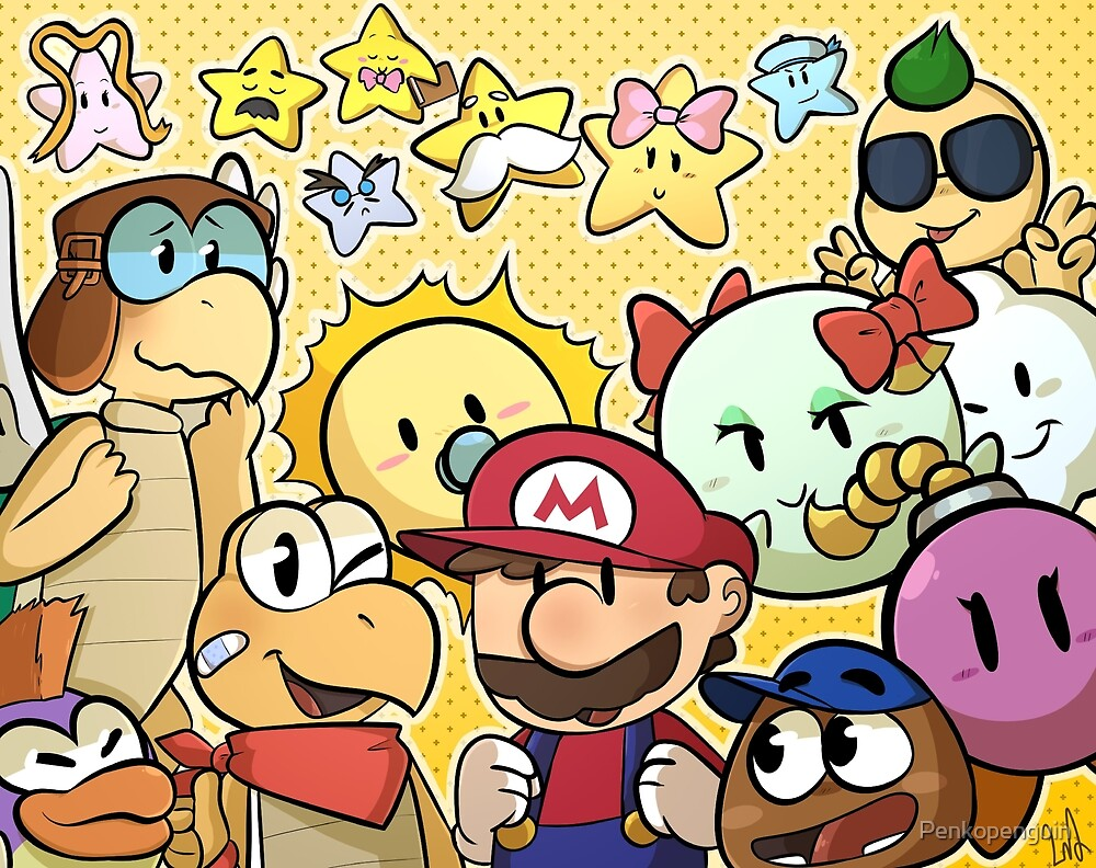 Paper Mario 64 - Mario, his partners and the stars by Penkopenguin