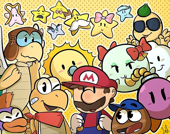 'Paper Mario 64 - Mario, his partners and the stars' Poster by Penkopenguin