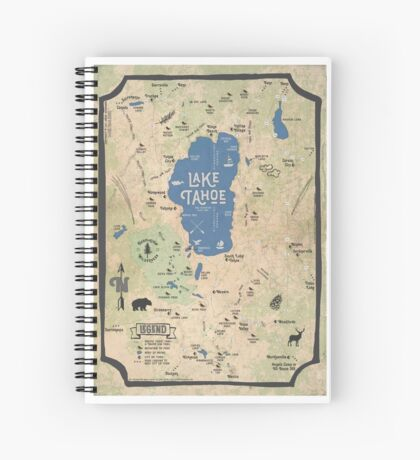 Faux Vintage Map of the Lake Tahoe Region Spiral Notebook