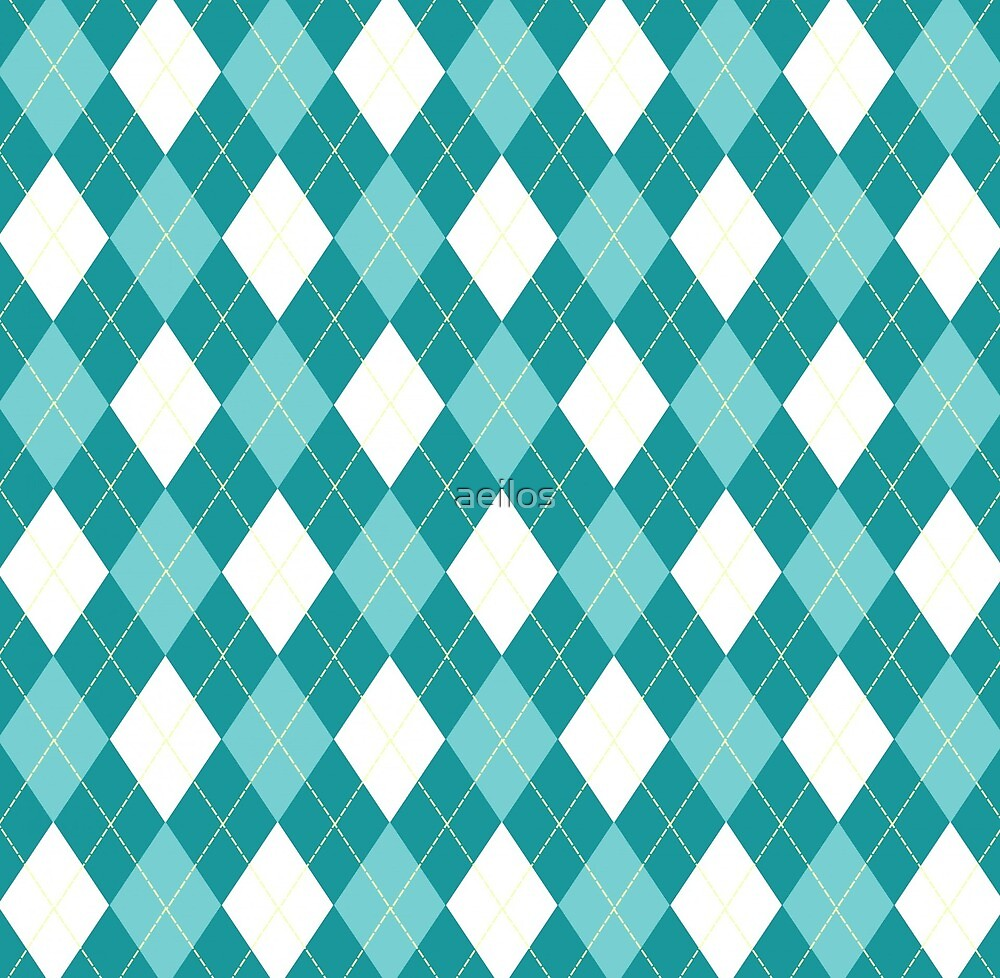 Blue, teal and white argyle  by aeilos