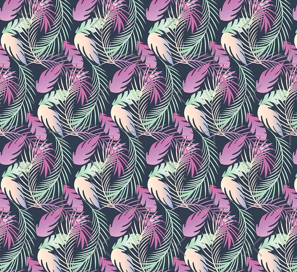 Tropical Pattern Fern Greenery  by Dreambigdigital