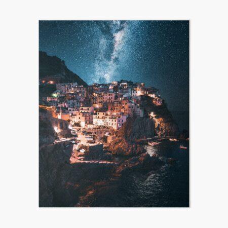 manarola at night with stars Art Board Print