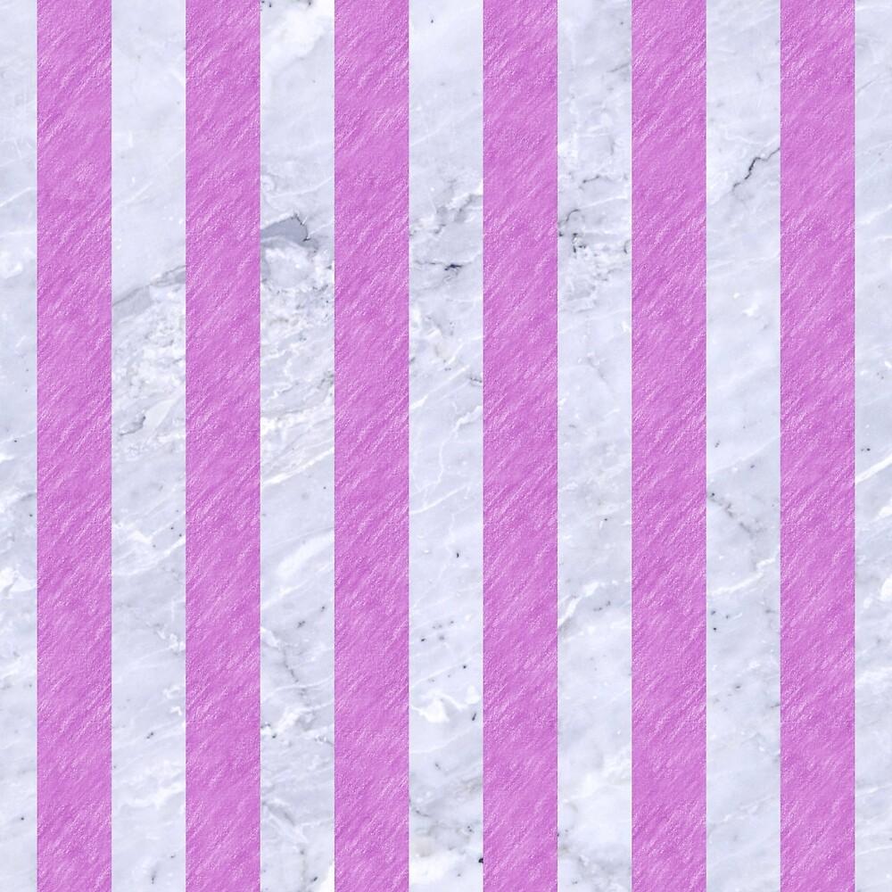 STRIPES1 WHITE MARBLE & PURPLE COLORED PENCIL by johnhunternance