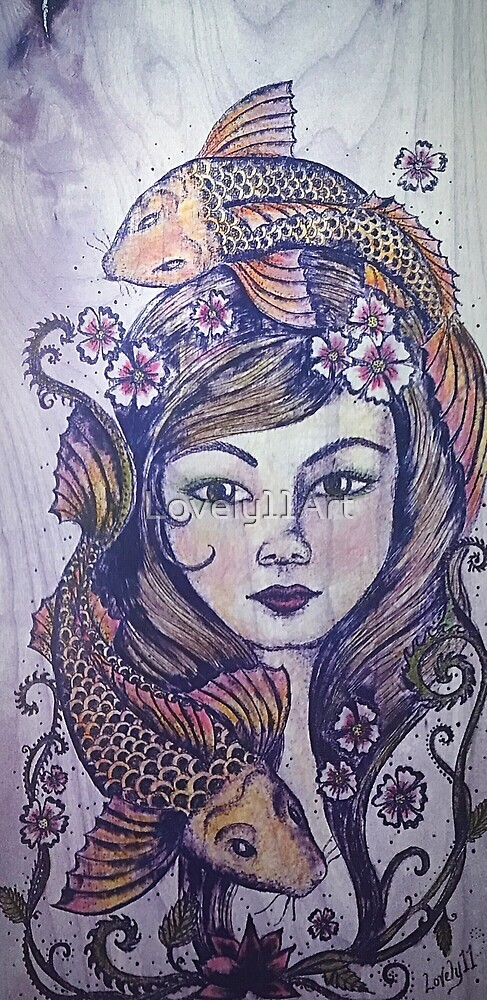 Mermaid and Koi Fish Violet by Lovely11Art