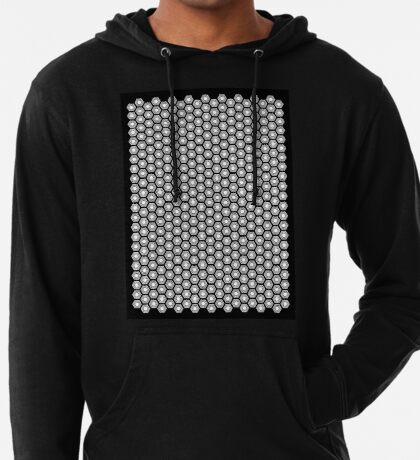 Hexagonal Turtle Pattern Black & White 001 Lightweight Hoodie