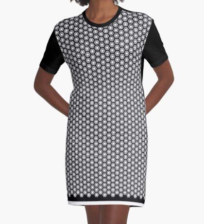 Hexagonal Turtle Pattern Black & White 001 Graphic T-Shirt Dress