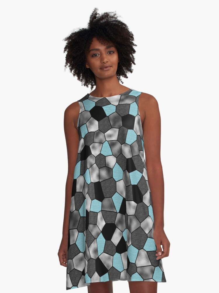 Blue Ghostly A-Line Dress Front