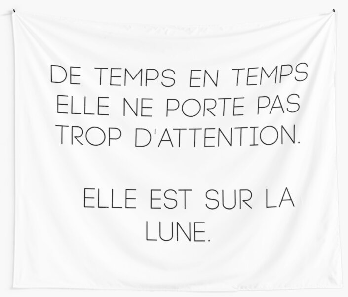 She is on the moon - elegant french quote by RoseAesthetic