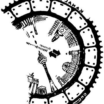 Manhole Cover Print: Germany Berlin Mitte, BrandenburgGate, Fernsehturm, Gedächtniskirche by drawnye
