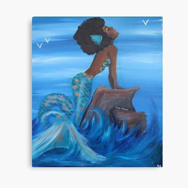LITTLE MERMAID CHILDREN GIRLS  BEACH SHELLS OCEAN SAND PLAY FANTASY CANVAS ART