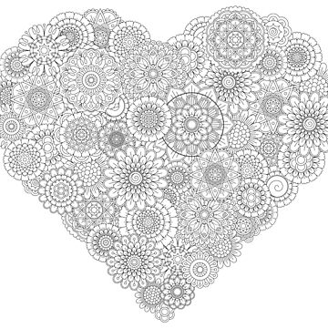 Adult Coloring Book Style: Heart Flower Mandalas by drawnye