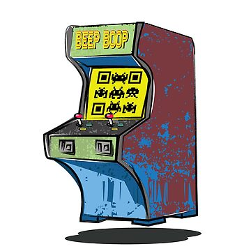 Arcade cabinet with Space invader QR code by rooosterboy