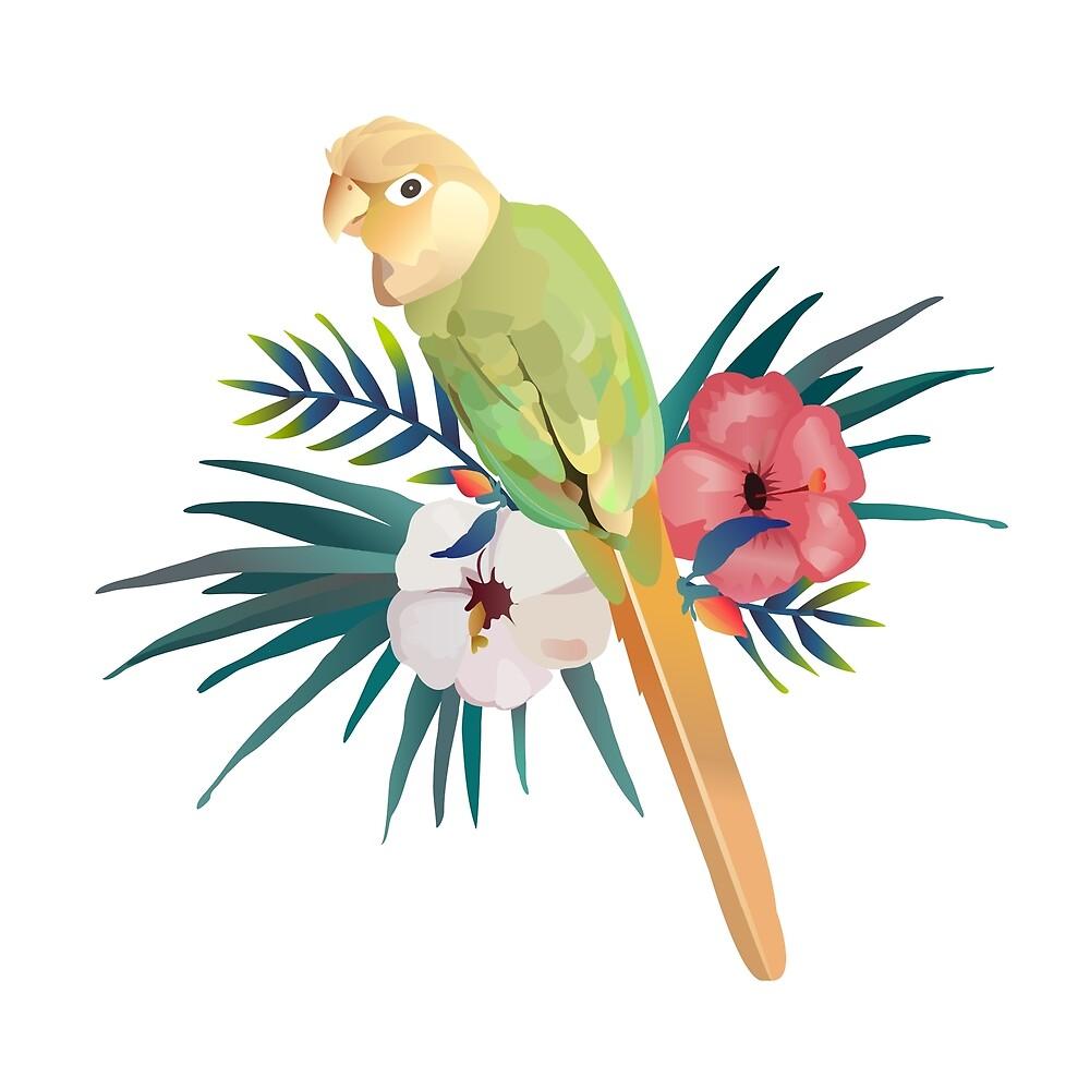 Suki The Bird with Flowers Aesthetic by SukiStickies