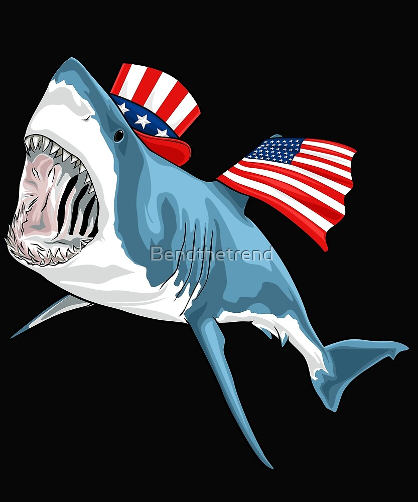 Shark Great White 4th Of July by Bendthetrend