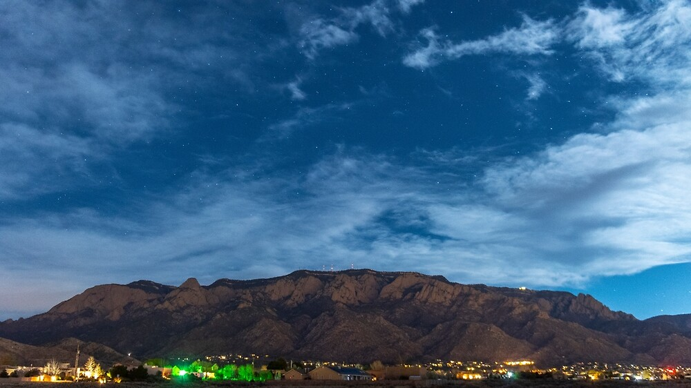 Sandia Mountains at NIght by IOBurque