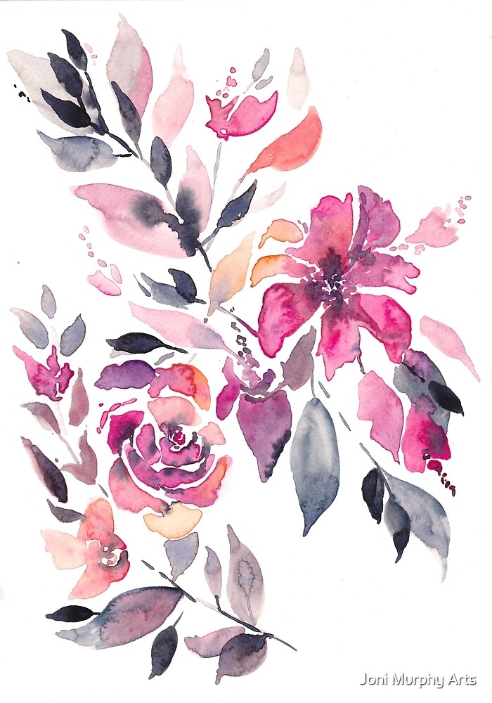 Feburary Bouquet Modern Watercolour by Joni Murphy Arts