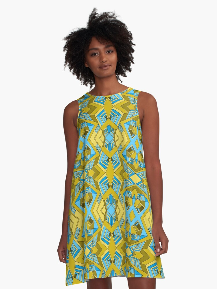 Reality Warp of the Pharaohs - A Blue and Yellow Tessellating Abstract Pattern with Impossible Perspective   A-Line Dress Front