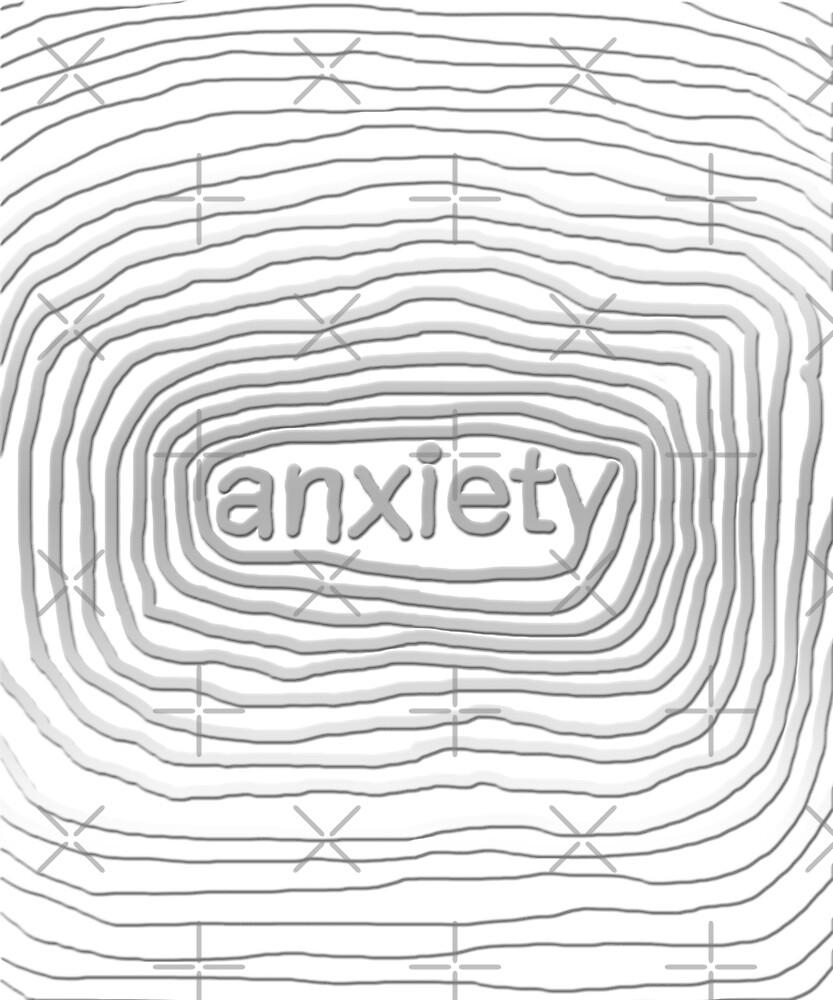 Cool Hand-Drawn Textured Anxiety T-Shirt by dbernaldesign