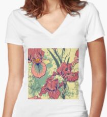 SeaSeamless pattern with decorative  iris flower in retro colors. mless pattern with decorative  iris flower in retro colors.  Women's Fitted V-Neck T-Shirt